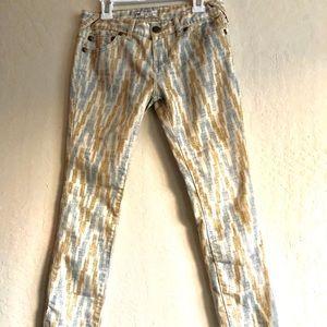 Free People printed skinny jeans yellow blue beige